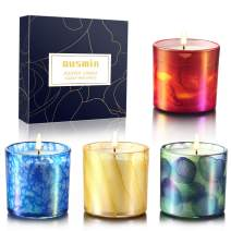 Scented Candles Gift Set, OUSMIN Portable Travel Glass Candle, Natural Soy Wax 4Oz Candle Blended with Natural Essential Oils, Lemon, Rose, Lavend and Ocean, Stress Relief Aromatherapy Candles 4 Pack,