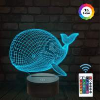FULLOSUN Night Lights for Kids Ocean Whale Illusion 3D Night Light Bedside Lamp 16 Colors Changing with Remote Control Best Birthday Gifts for Child Baby Boy and Girl