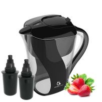 Naples Naturals 109X2 Alkaline Water Filter Pitcher - Removes Chlorine and Contaminants Plus Increases pH (Black)