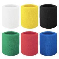 GOGO 6-Piece Wrist Sweatbands Athletic Cotton Terry Cloth Wristband 3 Sizes