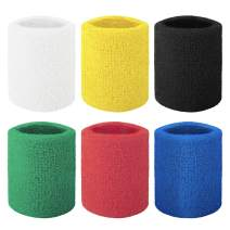 GOGO 6-Piece Wrist Sweatbands Athletic Cotton Terry Cloth Wristband 3 Sizes