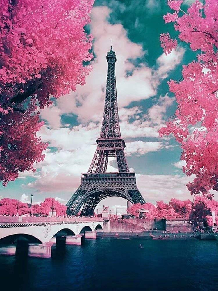DIY 5D Diamond Painting by Number Kits, Crystal Rhinestone Embroidery Paint with Diamonds, Full Drill Canvas Art Picture for Home Wall Decor(Eiffel Tower-1, 11.81x15.74in)