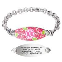 Divoti Custom Engraved Medical Alert Bracelets for Women, Stainless Steel Medical Bracelet, Medical ID Bracelet w/Free Engraving – Gorgeous Red Rose Tag w/Textured Rolo – Color/Size
