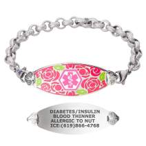 Divoti Custom Engraved Medical Alert Bracelets for Women, Stainless Steel Medical Bracelet, Medical ID Bracelet w/Free Engraving – Gorgeous Red Rose Tag w/Textured Rolo – Color/Size