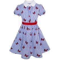 Sunny Fashion Girls Dress School Blue Strip Print Size 4-10