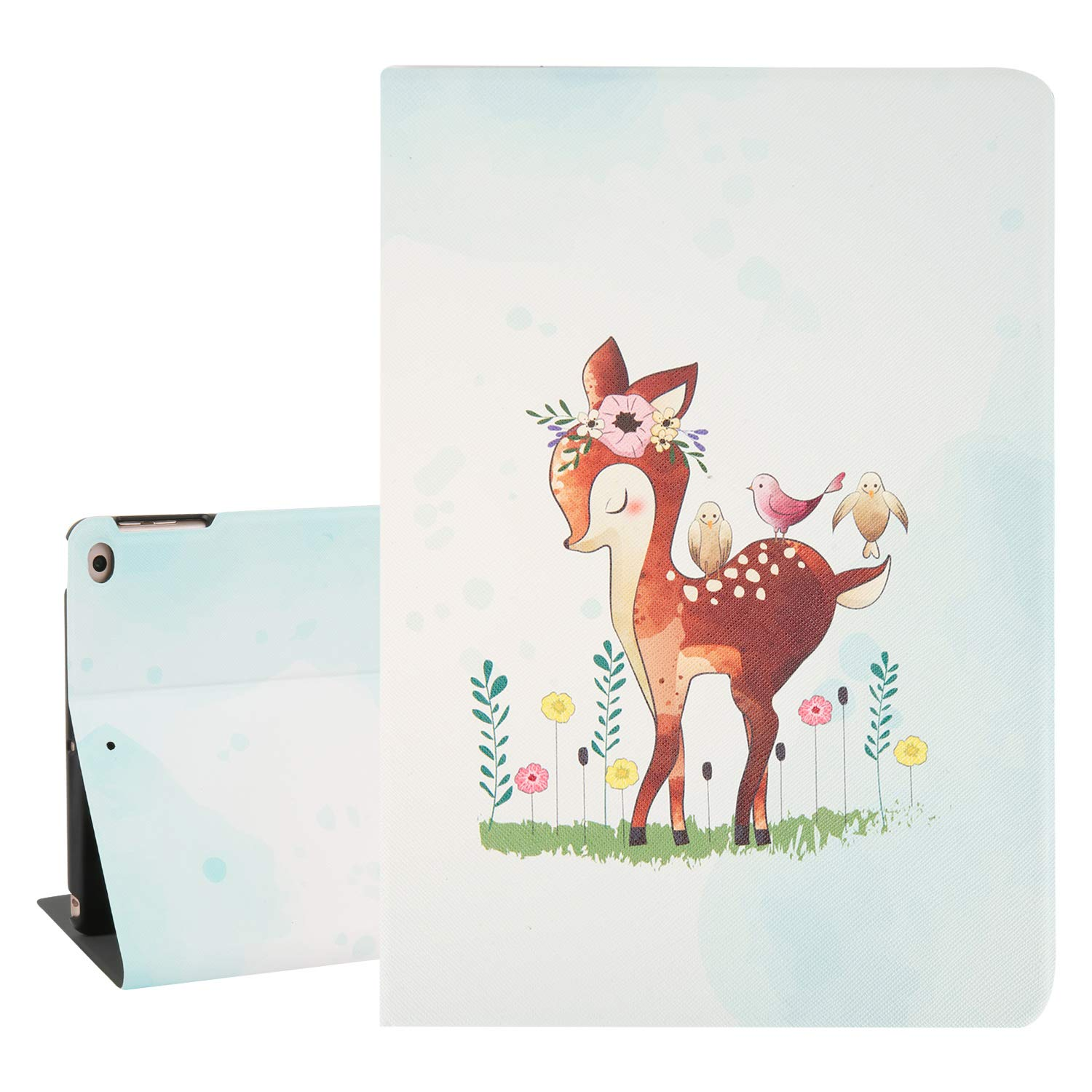 """Hepix Cute iPad 9.7 Case for Kids Christmas Deer iPad Air 2 Cases, iPad 6th / 5th Gen Case Lightweight Protective PU Leather Multi-Angle Stand with Auto Sleep Wake for iPad 9.7"""" 2018/2017"""