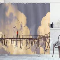"Ambesonne Art Shower Curtain, Man Standing on Unsafe Bridge Looking at Clouds Outdoor Depression Loneliness Art Print, Cloth Fabric Bathroom Decor Set with Hooks, 70"" Long, Bluegrey"