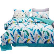 "HOLY HOME Duvet Cover Mini Set Acrylic Fiber-Mixed Cotton Simple Style Soft & Cozy 4 Pieces Beddings Queen Size: 86"" x94 Colorful Leaves White"