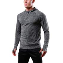 FELICON Mens Zip Long Sleeve Tops Standing Collar Training Shirts Quick Dry Warm-up Sweatshirt Baselayer Sportswear