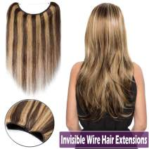 Human Hair Wire Extensions 20 Inch Highlighted Seamless Secret Fish Line Hidden Crown Hair Extensions Long Straight No Clips No Glue Invisible Haippiece 70g #4/27 Medium Brown Mix Dark Blonde