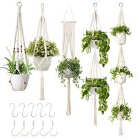 5-Pack Macrame Plant Hangers with 5 Hooks, Different Tiers, Handmade Cotton Rope Hanging Planters Set Flower Pots Holder Stand, for Indoor Outdoor Boho Home Decor