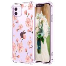 """Hepix Floral iPhone 11 Clear Case Cherry Blossom Flowers 11 iPhone 11 Cases, Pink Flowers Clear iPhone Cover with Protective Bumpers, Slim Flexible TPU Frame Camera Protetcion for iPhone 11 (6.1"""")"""