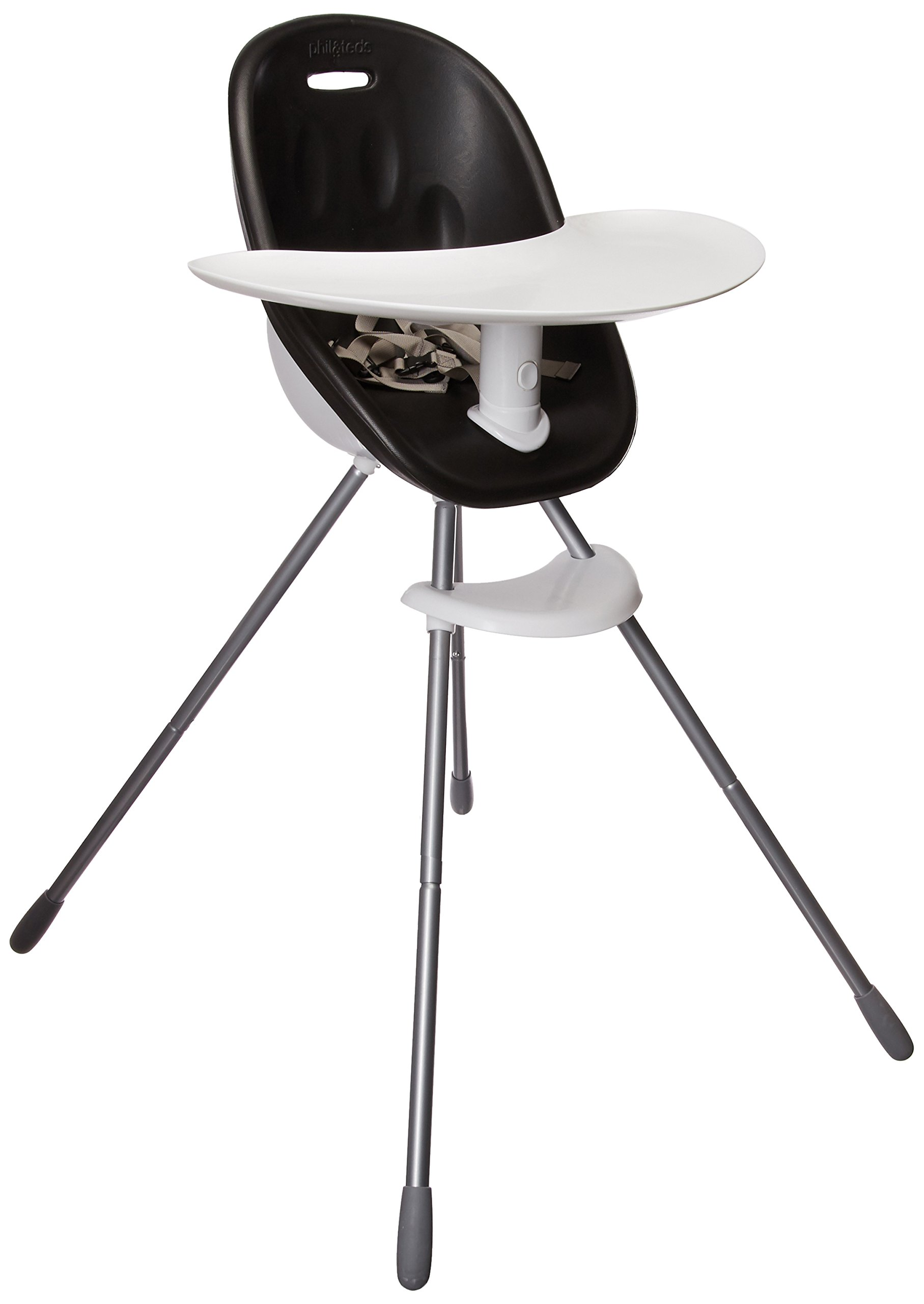 phil&teds Poppy Convertible High Chair, Black – Converts to Child Seat – Ultra-Hygenic Aerocore Seat – Seamless – Hypoallergenic – Anti-Microbial – Dishwasher Safe Tray – Easy Clean – Waterproof