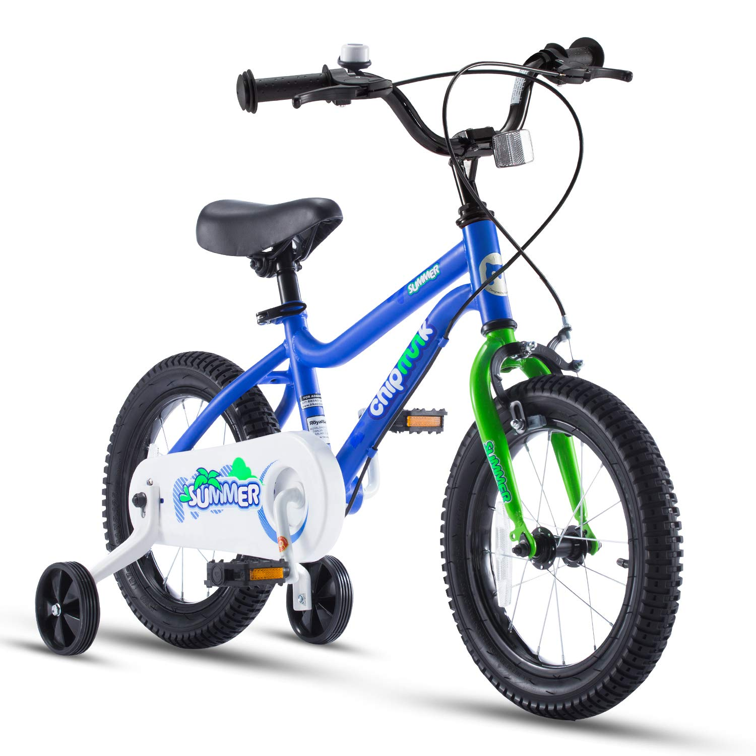 """Chipmunk RoyalBaby MK Sports Kids Bike for Girls and Boys, Training Wheels for 12""""14""""16""""18"""", Kickstands for 16""""18"""", Blue and Pink"""