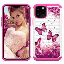 Lantier Heavy Duty Glitter Bling Hybrid Dual Layer 2 in 1 Hard Cover Soft TPU Impact Armor Defender Protective Shockproof Diamond Case for iPhone 11 Pro 5.8 Inch (2019) Rose Butterfly