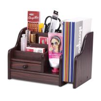AZDENT Wooden Office Desk Organizer with Drawer Expandable Mail Sorter Desktop Organizer 5 Compartments Pen Pencil Remote Control Holder Storage Caddy