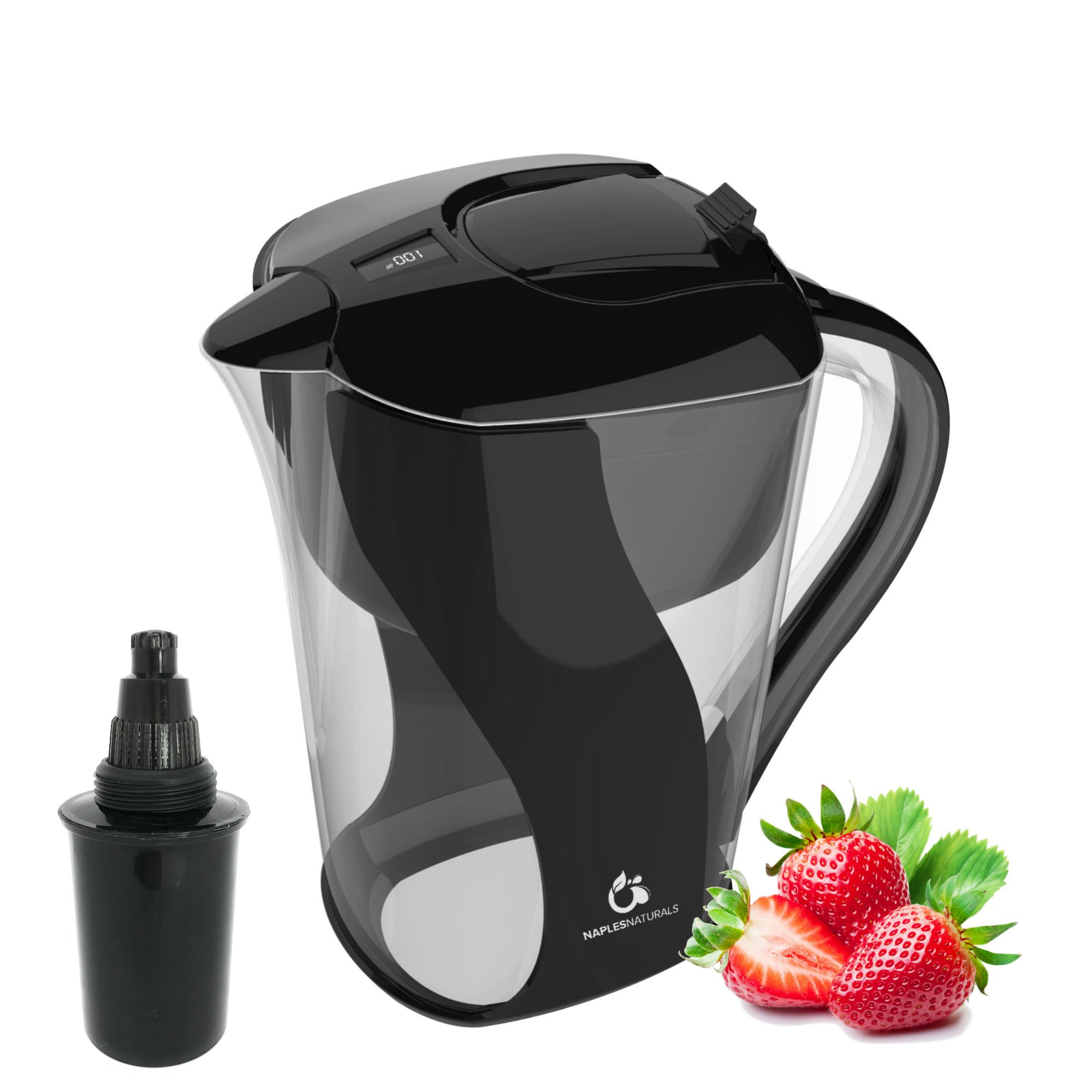 Naples Naturals 109X1 Alkaline Water Filter Pitcher - Removes Chlorine and Contaminants Plus Increases pH (Black), (Model: AOK109-BLK-01)