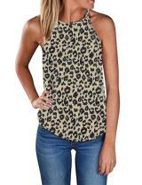 Sherosa Women's Casual Halter Top Spaghetti Strap Floral Print Tank Tops Camis Shirt