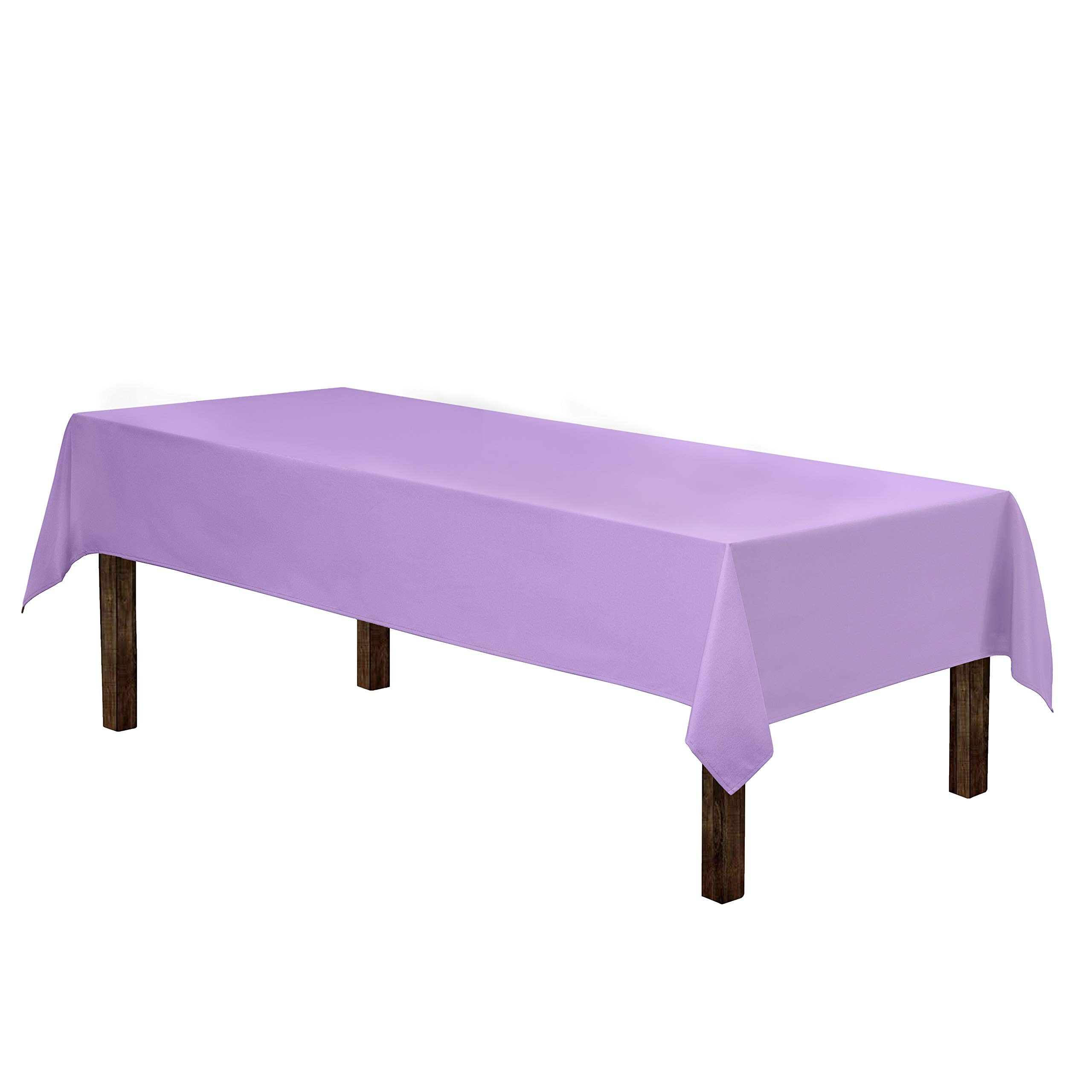 """Gee Di Moda Rectangle Tablecloth - 60 x 126"""" Inch - Lavender Rectangular Table Cloth for 8 Foot Table in Washable Polyester - Great for Buffet Table, Parties, Holiday Dinner, Wedding & More"""
