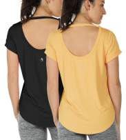 icyzone Yoga Shirts for Women Open Back - Workout Tops Short Sleeves t Shirts Loose fit(Pack of 2)