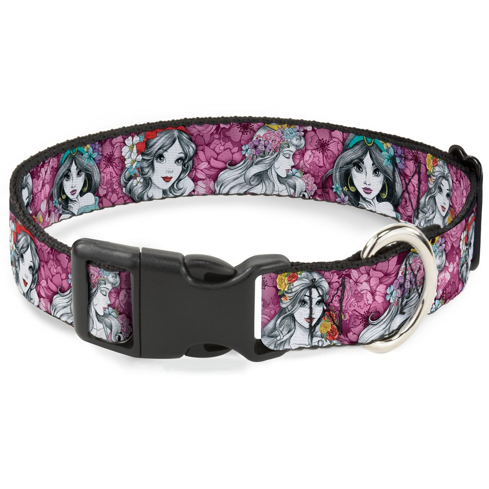 Buckle-Down Dog Collar Plastic Clip Princess Sketch Poses Floral Collage Pinks Grays Available in Adjustable Sizes for Small Medium Large Dogs