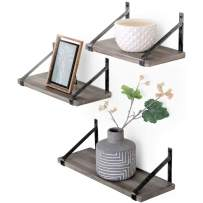 Under.Stated Wall Mounted Wood Shelves – Rustic Grey Display Ledge with Metal Brackets | Floating Shelves Set of 3 (Rustic Silver Brackets)