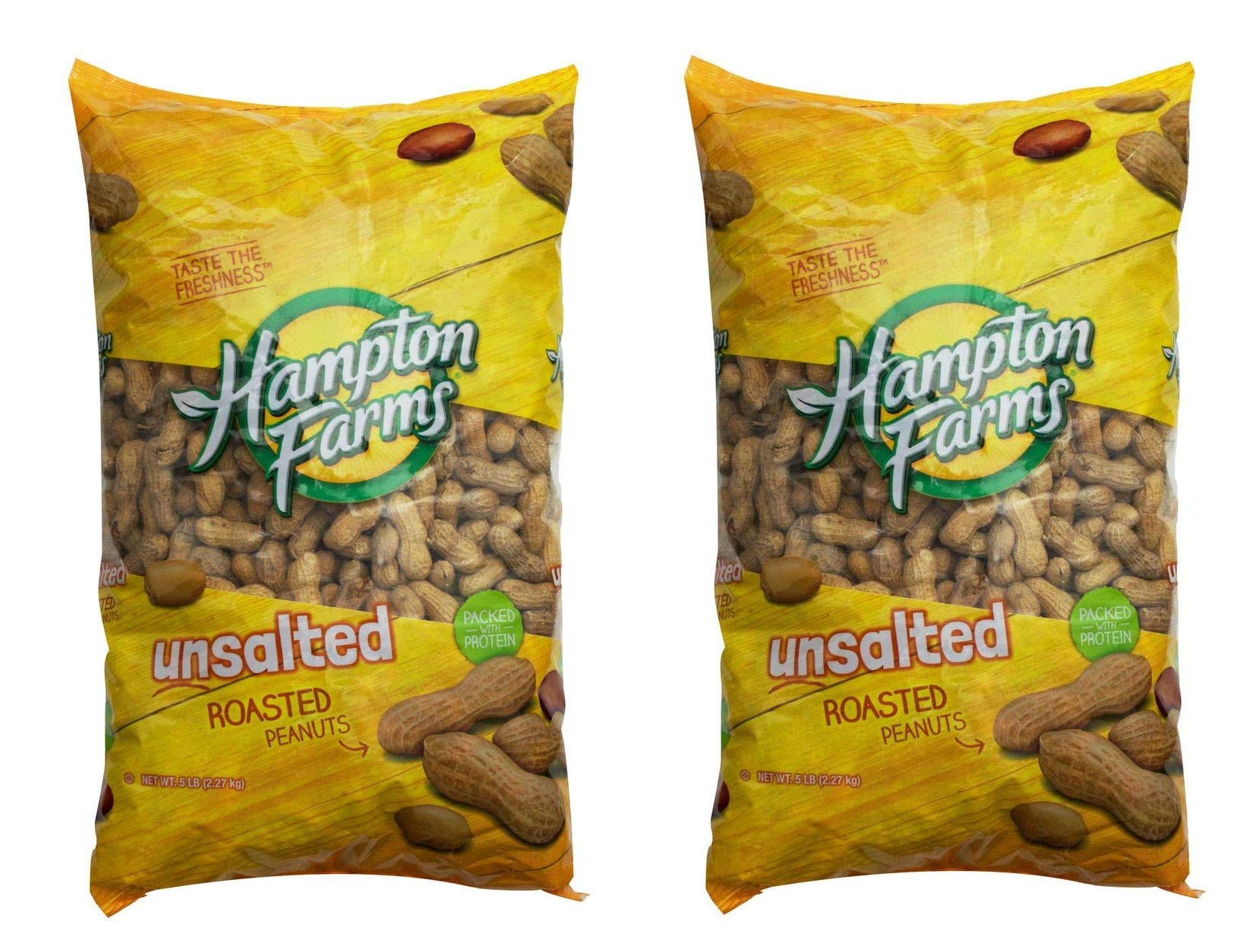 Product of Hampton Farms Unsalted Roasted In-Shell Peanuts, 5 lbs. [Biz Discount (Two Pack)