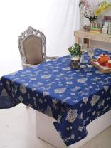"""Plush Home Table Cloth - Indigo Pine Forest, 100% Cotton, Rectangular Table Cloth of Size 60""""X102 Inch, Eco - Friendly & Safe."""