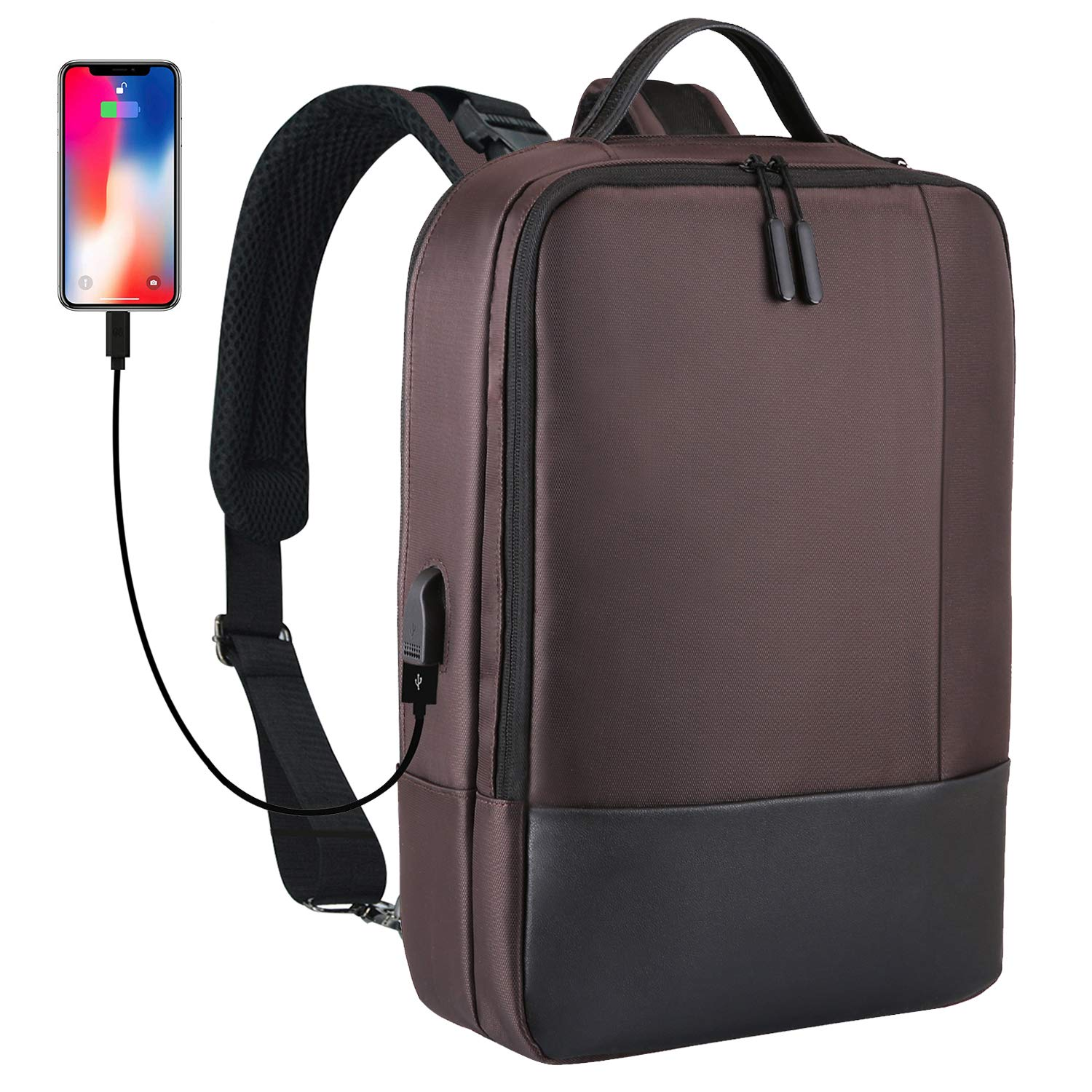 Convertible Laptop Backpack Lightweight Travel Business Bag Multi-functional Shoulder Briefcase Water Resistant College School Bag with USB Charging Port for Women & Men Fits 15.6 Laptop, Coffee