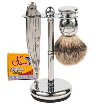 Parker SR1 Straight Edge Razor Shave Set - Includes 100% Pure Badger Brush, Deluxe Chrome Shave Stand, Parker SR1 Shavette Razor and 100 Shark Super Stainless Razor Blades