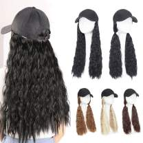 "Baseball Cap With Hair Hat Hair Extension Curly Long Wavy Corn Wave Hairpiece With Baseball Hat Attached Adjustable Cap Synthetic Yaki Hair for girls and women (18""-Corn Wave, Wine Red)"