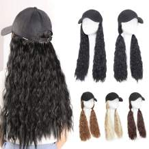 "Baseball Cap With Hair Hat Hair Extension Curly Long Wavy Corn Wave Hairpiece With Baseball Hat Attached Adjustable Cap Synthetic Yaki Hair for girls and women (18""-Corn Wave, Dark Brown)"