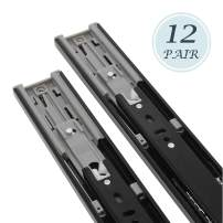 14 Inch Full Extension Ball Bearing Soft Close Slides 80 LB Capacity Kitchen Cabinet Drawer Slides Black Finish, Rear Mount Bracket and Screws are Included (14 Inch 12 Pair)