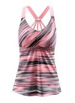 EVALESS Women's Floral Printed Padded Wide Strap Tankini Swim Top Swimsuit Swimwear No Bottom