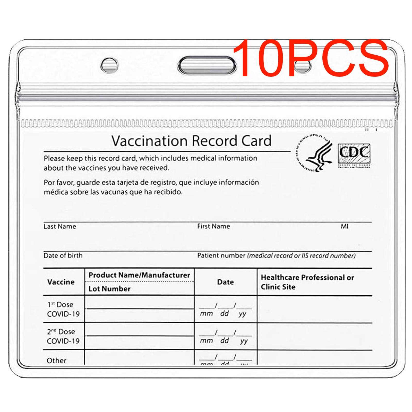 CDC Vaccination Card Protector 4 X 3 in Immunization Record Vaccine Horizontal ID Card Name Tag Badge Cards Holder Clear Vinyl Plastic Sleeve with Waterproof Type Resealable Zip (10)