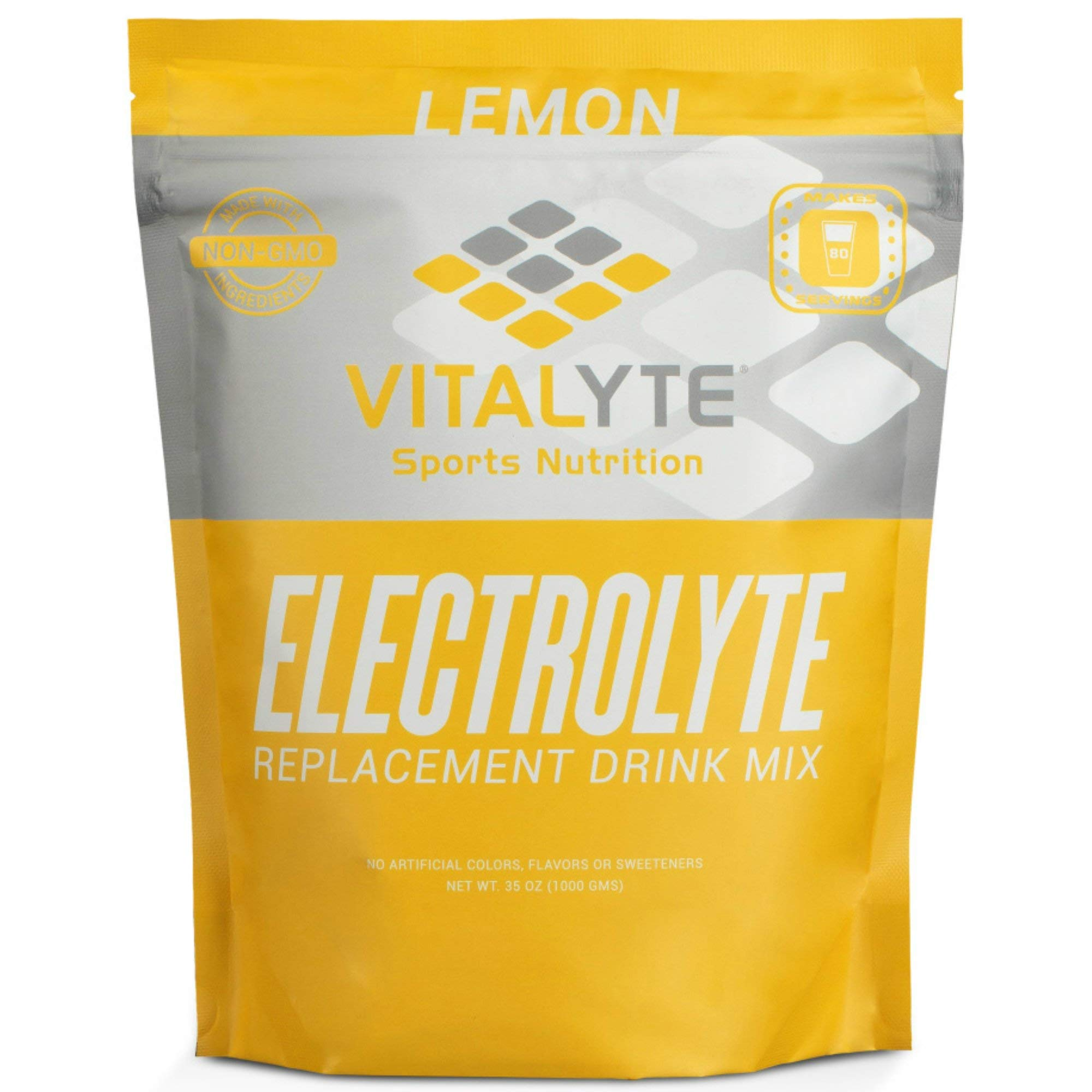 Vitalyte Natural Electrolyte Powder Drink Mix, Gluten Free, 40 2 Cup Servings Per Container (Lemon-Pouch)