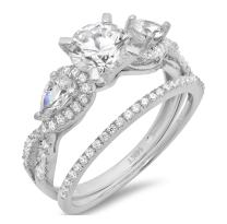 2.10 CT Round And Pear Cut CZ Pave Halo Solitaire Designer Classic Ring band set Solid 14k White Gold