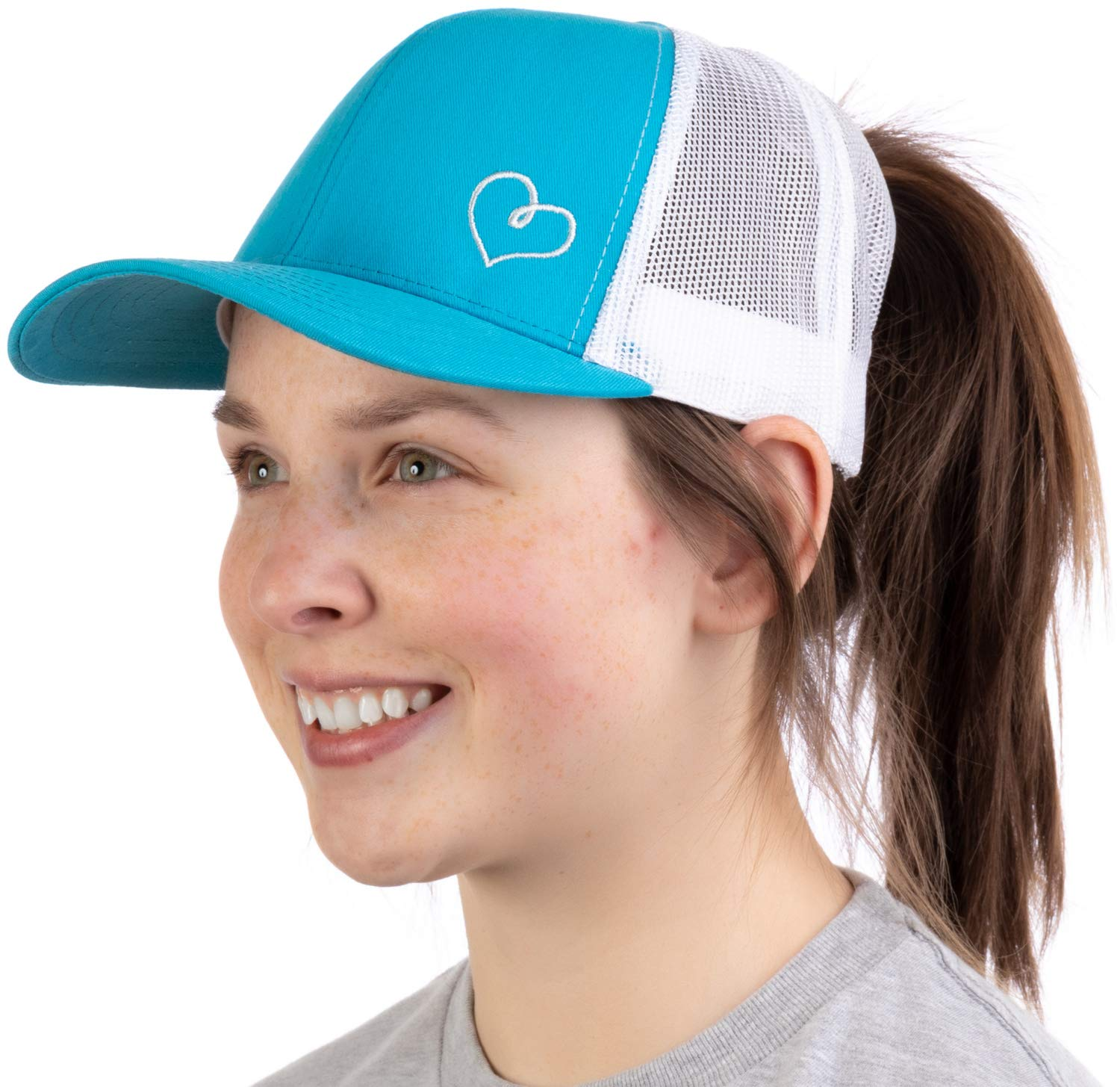 Heart Stitch | Ponytail Trucker Hat, Cute Boating Lake Beach Pool Pony Tail Cap
