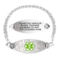 Divoti Custom Engraved Medical Alert Bracelets for Women, Stainless Steel Medical Bracelet, Medical ID Bracelet w/Free Engraving – Lovely Filigree Tag w/Handmade Byzantine – Color/Size