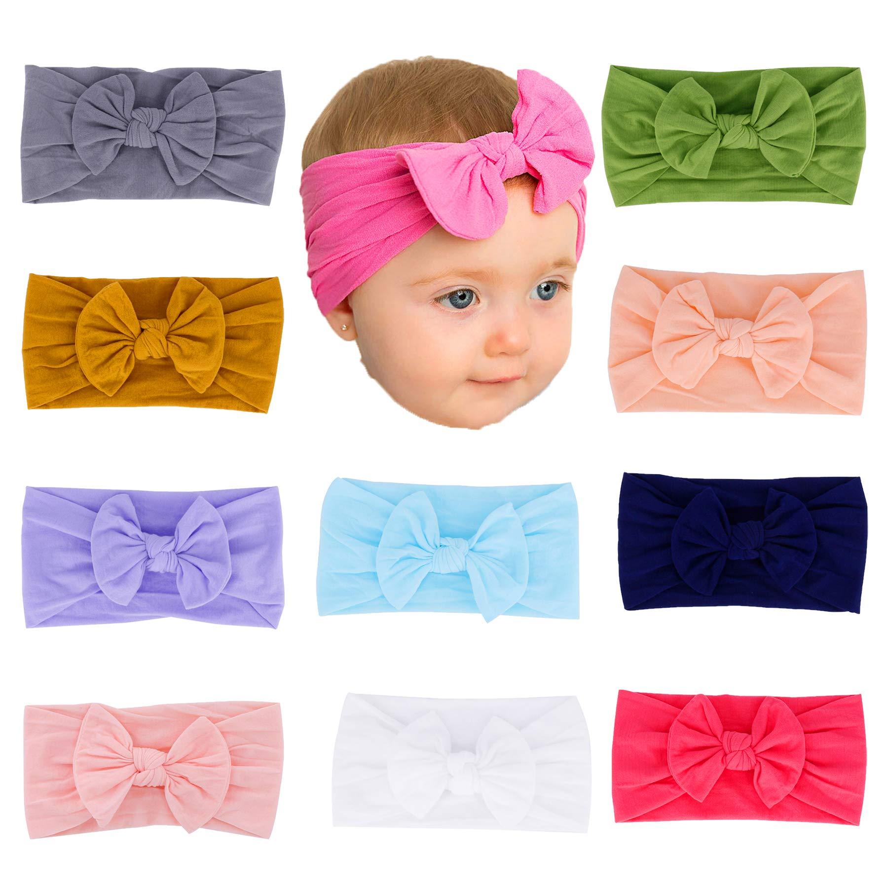 Baby Girl Nylon Headbands Newborn Infant Toddler Turban Hairbands Bows Child bandana Headwrap Hair Accessories (Multicolor Set6-10 Pcs)