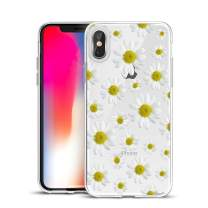 Unov Case Clear with Design Slim Protective Soft TPU Bumper Embossed Flower Pattern Protective Back Cover for iPhone Xs Max 6.5 Inch(White Daisy)