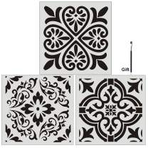 FOUR-C Floral Painting Stencils for Floor Wall Tile Fabric Furniture Wood Burning Art & Craft Supplies Mandala Template-Reusable (3PC, A3+A4+A5)