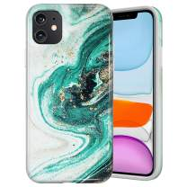 Caka Marble Case for iPhone 11 Marble Case Anti Scratch Protective Luxury Fashion Shockproof for Women Girls Protective Shockproof Marble Phone Case for iPhone 11 (6.1 inch)(2019)(Green)