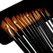 Wisehands 15 Pieces Paint Brushes Acrylic Paint Set Long Handle with Case Holder, for Watercolor, Acrylic, Oil and Face Painting