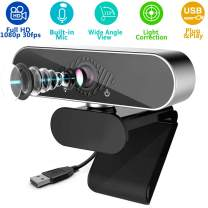 1080P PC Webcam with Microphone, Full HD Computer USB Web Camera, Streaming Video for Laptop & Desktop, Widescreen External Pro Webcam for Conference, Live and Gaming