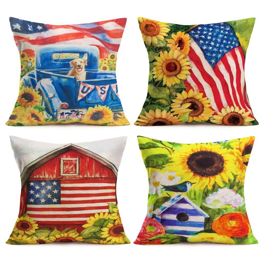 Asamour 4 Pack Summer Garden Decorative Pillow Covers Oil Painting USA American Flag with Sunflower Farm Throw Pillow Case Cotton Linen Rustic Farmhouse Cushion Cover for Sofa Patio Decor 18''x18''