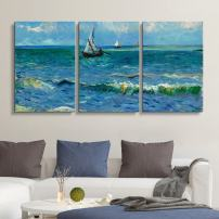 "wall26 3 Panel Canvas Wall Art - Seascape Near Les Saintes-Maries-de-la-Mer by Vincent Van Gogh - Giclee Print Gallery Wrap Modern Home Art Ready to Hang - 24""x36"" x 3 Panels"
