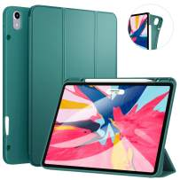 Ztotop Case for iPad Pro 12.9 Inch 3rd Gen 2018 with Pencil Holder- Lightweight Soft TPU Back Cover and Trifold Stand with Auto Sleep/Wake, Support 2nd Gen iPad Pencil Charging, Dark Green
