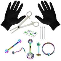 BodyJ4You Professional Piercing Kit Stainless Steel 14G 16G 18G Belly Button Nipple Lip Nose Jewelry