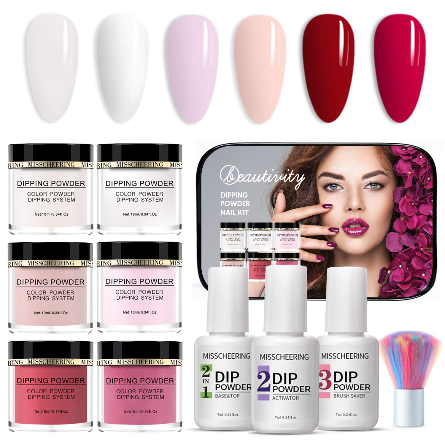 Beautivity Dipping Powder Nail Starter Kit Acrylic Dipping System (6 COLORS SET)